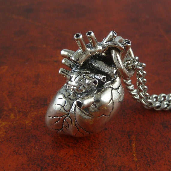 Sterling Silver Heart Necklace Anatomical Heart Pendant