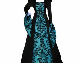 Gothic dress, teal and black dress, prom gown, renaissance gown, medieval hooded dress, bridesmaid