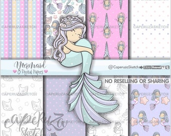 Mermaid Digital Paper, Printable Paper, Mermaid Pattern, COMMERCIAL USE, Mermaid Paper, Mermaid Party, Mermaid Texture, Fairy Tale Paper