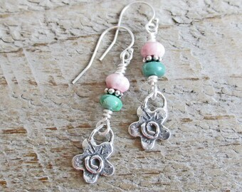 Pink Rhodonite Green Turquoise Silver Flower Earrings, Healing Gemstone Earrings