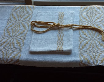Handwoven Rayon Chenille Dresser Scarf + Trinket Bag White Gold Great Gift!