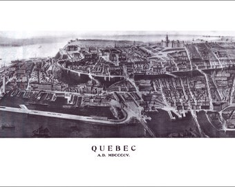 """Quebec City Quebec in 1895 Panoramic Bird's Eye View Map by J. L. Wiseman 22x10"""" Reproduction"""