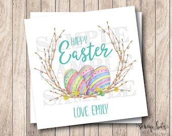 Personalized Printable Easter Tags, Printable Happy Easter Tags, Watercolor Easter Eggs