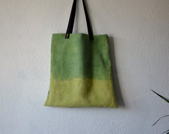 Cotton canvas tote yellow green naturally dyed ecological two tone shopper bag leather handles environmentally friendly hippie yoga earthy