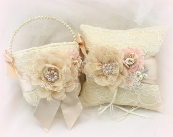 Champagne Flower Girl Basket and Ring Pillow Set Blush Vintage Style Champagne Flower Girl Basket and Ring Bearer Pillow Gatsby Style