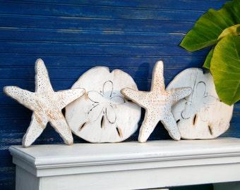 Salty Hugs and Kisses Set Wooden XOXO Beach Sand Dollar Starfish Four Piece Set Beach House Decor Lake House Decor