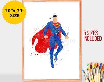 Superman, Watercolor, Movie Poster, Watercolor Painting, Superman Art, Watercolor Art, superhero