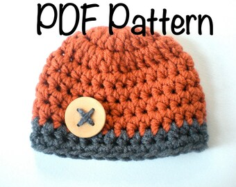 PATTERN:  Chunky Beanie, easy crochet PDF, InStAnT DoWnLoAd, Sizes newborn to Toddler, Permission to Sell