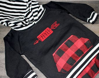 Monogrammed Red Black Buffalo Check Flannel Sweatsuit - Hoodie and Pants Outfit