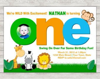 Safari 1st Birthday Invitation, Jungle Safari Birthday Invitation - Digital File (Printing Services Available)