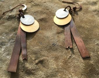 Geometric mixed metal earrings