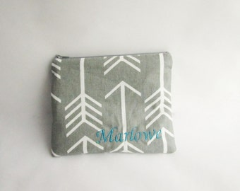 Arrows Bag - Cosmetic bag - Personalized Zipper Pouch with initials - Monogrammed Makeup bag - Bridesmaid bags- Small