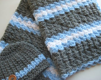 Crochet Baby Boy Blanket Set, Nursing Blanket, Baby Travel Blanket & Hat , Baby Shower Gift - Blue, Grey, White Baby Blanket