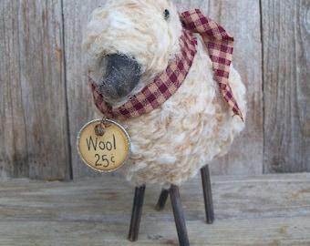 Wooly Sheep, Rustic Country Decor, Checkered, Handmade, Animal, Barnyard, Ewe, Flock, Farmhouse Decor