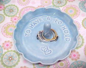 Ruffled Pottery Ring Bowl with Entwined Hearts - Handmade Ring Dish - Engraved To Have & To Hold -  Baby Blue Pottery - READY to Mail