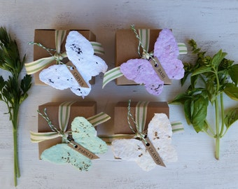 4 Paper Butterfly, herb garden kits, herb planter, seed paper butterfly, herb seeds, plantable paper, indoor herbs, gift for coworker, seeds
