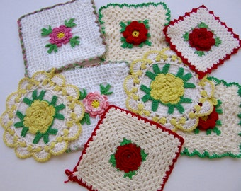 vintage hand-crocheted pot holders with roses, lot of 8 holders