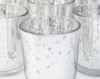 12 Silver Mercury Glass Votives Candle Holder Wedding Reception Event