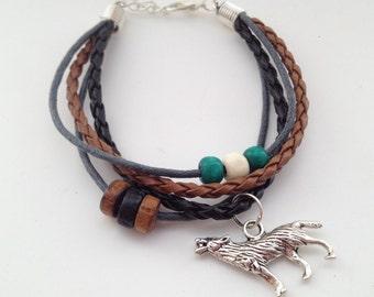 WOLF bracelet - Bohemian Bracelet - Native American - Tribal Bracelet - Boho Bracelet - surfer bracelet wolf jewellery wolf jewelry faux