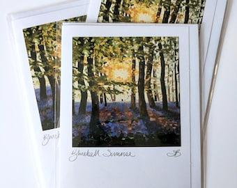 Bluebell Sunrise | greetings card | hand made | handmade | oil painting | painting | landscape | flowers | bluebells | sunset | flower card
