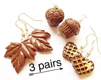 3 handmade earrings food earrings dessert earrings kawaii jewelry chocolate earrings muffin waffle earrings cute gift jewelry set for women