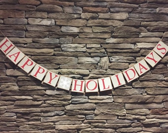 Happy Holidays banner, Holiday Banner, Rustic Holiday banner, Snowflake banner