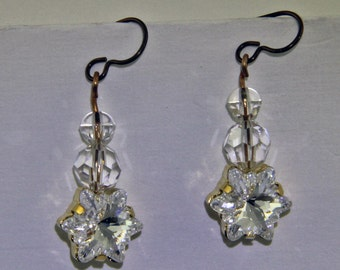 Handmade 1 Inch Long Crystal Snowflake Earrings Glass Earrings With 12 mm Crystal Faceted Star Niobium Hooks Oscarcrow