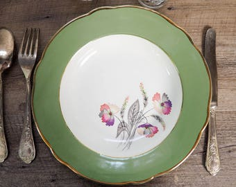 Green French luneville brand vintage soup plate