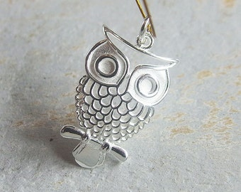 1 of 925 Sterling Silver Owl Pendant  15x24mm. :th2003