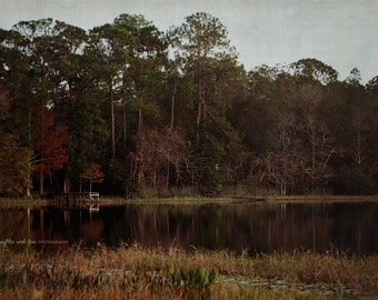 Lake Reflection Photo, Landscape Photography, Lake House Cottage Cabin Decor, Calm Water Print, Neutral Woodland Decor, Home Decor Wall Art
