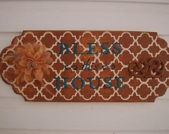 Bless This House Sign in Rich Browns and Turquoise Lettering, Christmas Gift, Housewarming, Wedding, Gorgeous Original for your Walls(A49)