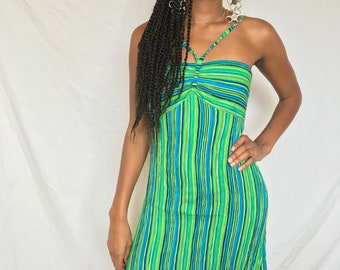90s rayon crinkle stripe printed beach or partt dress