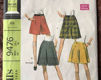 """McCall's 1960's Culotte Pattern # 9476 - Mini or Regular Length - Flat or Pleated Front - Size 25 1/2"""" Waist"""