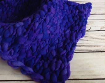 Purple Merino Layer Blanket, Newborn Photo Prop Blanket, Chunky Knit Merino Layer