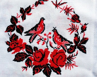 Vintage Embroidered Table Runner Cross Stitch • Red Black Birds