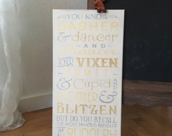 """Silver and Gold Reindeer Names / Hand painted Sign / Christmas Sign / 12"""" x 24"""" / Annie Sloan Old White Chalk Paint & Various Acrylics"""