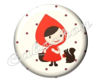 2 cabochons 20mm glass, fairy tale, Red Riding Hood