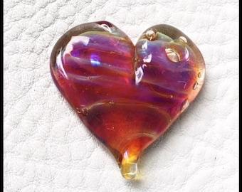 Heart Double Helix Clio Lampwork bead, glass heart by MMB SRA #U5