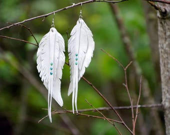 White leather feather earrings, boho wedding earrings decor, angel wings, bird earrings, hand cut feather earrings, long boho earrings