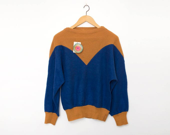 Vintage 80s blue and orange sweater deadstock