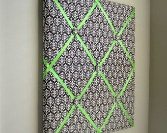 "Brown & Cream Damask 16""x20"" Memory Board, Vision Board, Bow Board, Ribbon Board, Dream Board, Bow Holder, Photo Display, Business Card"