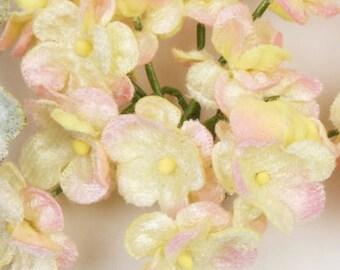 velvet forget-me-not posy. double velvet forget-me-not posy. velvet flowers. millinery flowers.