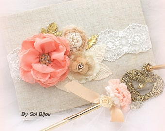 Wedding Guest Book Coral and Gold, Shabby Chic Linen and Lace Signature Book, Gold Wedding Signing Pen, Vintage Style Wedding