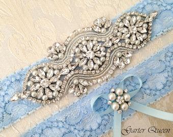 Blue Lace Wedding Garter Set, Lace Wedding Garter Set, Blue Bridal garter Set, Rhinestone Garter, Lace Garter, Personalized Garter