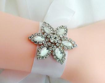 Rhinestone cuff, Flower cuff, Wedding cuff, Bridal cuff bracelet, Crystal wrist cuff, Ribbon bracelet, Bridesmaid bracelet, Wrist corsage