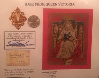 Authentic Hair from Queen Victoria of Great Britain and Ireland Antique Collectible Louis Mushro