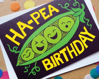 Funny Happy Birthday Card, Pun Birthday Card, Cute Birthday card, Kawaii Greeting card, Food Birthday Card, Ha-Pea Birthday, Happy Birthday