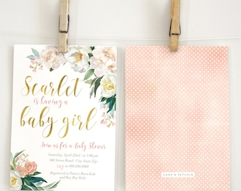 Floral & Gold Baby Shower Invitation, Watercolor Florals, Baby Girl Shower Invite, Lined Envelope