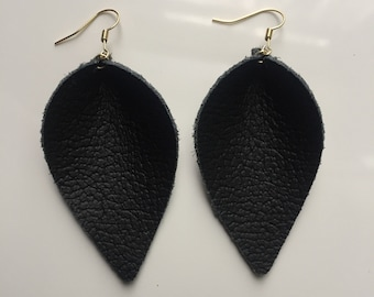 Black genuine leather leaf earrings