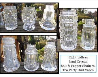 EIGHT Random Vintage Lead Crystal Salt & Pepper Shakers w/o lids, Personal Bud Vase, Tea Party, Dinner, Party, flower arrangement